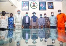 Commissioner for Information, Mr. Charles Aniagwu, 5th friom right, Mr. Paul Osahor, Permanent secretary, with Directors of the Ministry and DOPF officials.