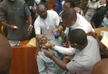 Prof. Kemebradikumo Pondei being assisted at the House of Reps probe