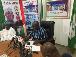 Mr. Kola Ologbondiyan, PDP megaphone, addressing a press conference.